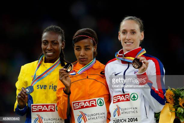 Silver medalist Adeba Aregawi of Sweden gold medalist Sifan Hassan of the Netherlands and bronze medalist Laura Weightman of Great Britain and...