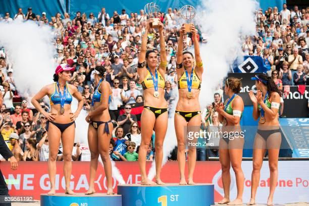 Silver medalist Agatha Bednarczuk Rippel and Eduarda Santos Lisboa of Brazil gold medalist Kira Walkenhorst and Laura Ludwig of Germany bronze...