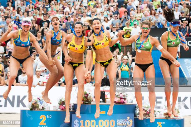 Silver medalist Agatha Bednarczuk Rippel and Eduarda Santos Lisboa of Brazil, gold medalist Kira Walkenhorst and Laura Ludwig of Germany, bronze...