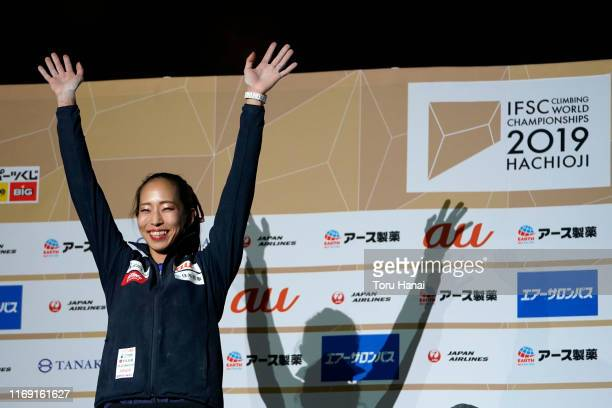 Silver medalist Akiyo Noguchi of Japan celebrates on the podium at the medal ceremony for Combined Women's Final on day ten of the IFSC Climbing...