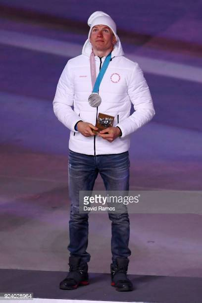 Silver medalist Aleksandr Bolshunov of Olympic Athlete from Russia poses during the medal ceremony for the CrossCountry Skiing Men's 50km Mass Start...