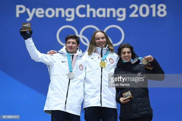 Silver medalist Alex Ferreira of the United States gold medalist David Wise of the United States and bronze medalist Nico Porteous of New Zealand...