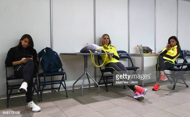 Silver medalist Alina Talay of Belarus gold medalist Cindy Roleder of Germany and bronze medalist Pamela Dutkiewicz of Germany wait in te 'Call room'...
