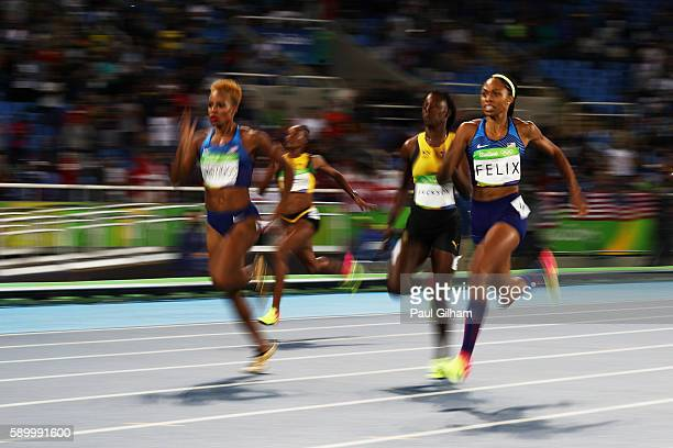 Silver medalist Allyson Felix of the United States competes in the Women's 400m Final on Day 10 of the Rio 2016 Olympic Games at the Olympic Stadium...