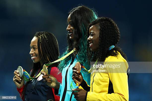 Silver medalist Allyson Felix of the United States gold medalist Shaunae Miller of the Bahamas and bronze medalist Shericka Jackson of Jamaica pose...
