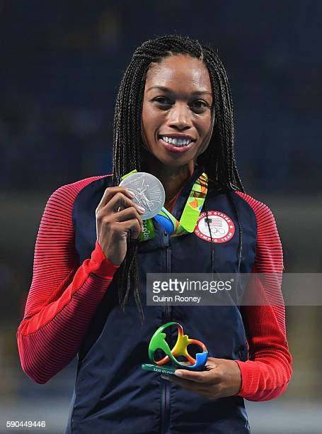 Silver medalist Allyson Felix of the United States poses during the medal ceremony for the Women's 400m Final on Day 11 of the Rio 2016 Olympic Games...