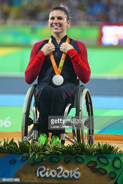 Silver medalist Amanda McGrory of United States poses on the podium at the medal ceremony for men's Club Throw F32 during day 6 of the Rio 2016...