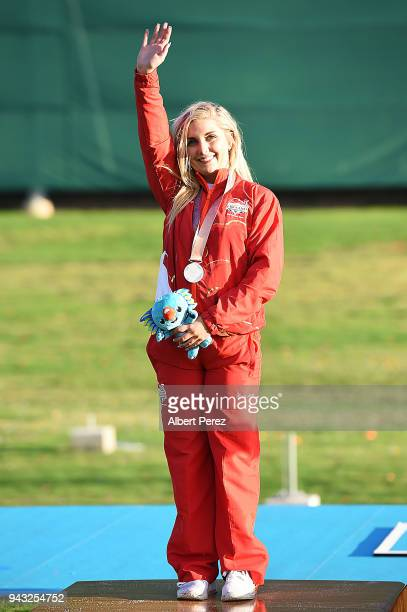 Silver medalist Amber Hill of England poses after the Women's Skeet final during Shooting on day four of the Gold Coast 2018 Commonwealth Games at...