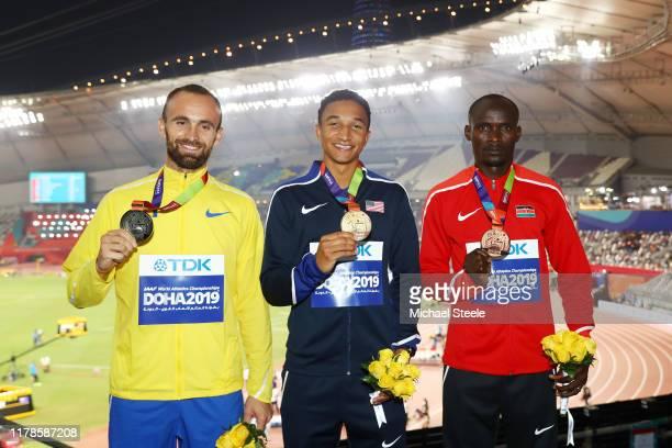 Silver medalist Amel Tuka of Bosnia and Herzegovina, gold medalist Donavan Brazier of the United States and bronze medalist Ferguson Cheruiyot Rotich...