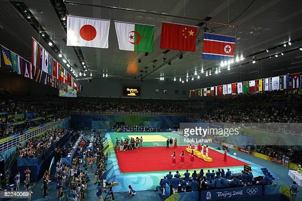 Silver medalist An Kum Ae of North Korea Gold medalist Xian Dongmei of China Bronze medalist Soraya Haddad of Algeria and Bronze medalist Misato...