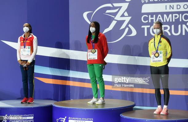 Silver medalist Ana Peleteiro of Spain, gold medalist Patricia Mamona of Portugal and bronze medalist Neele Eckhardt of Germany look on during the...