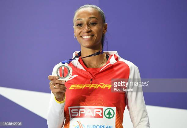 Silver medalist Ana Peleteiro of Spain poses for a photo during the medal ceremony for Women's Triple Jump final during the second session on Day 3...