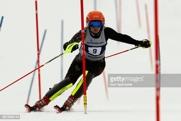 Silver medalist and First Team All American Denver's Andrea Komsic during the NCAA Women's Slalom Skiing Championship on March 10 2017 at Cannon...