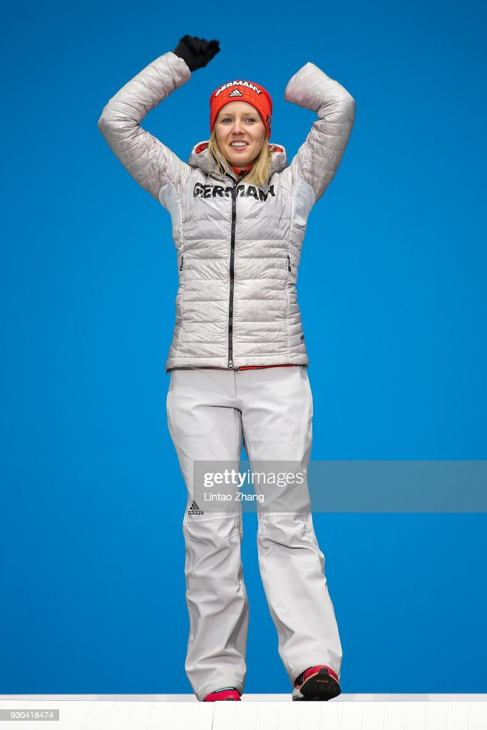 Silver Medalist Andrea Rothfuss of Germany celebrate during the victory ceremony of the Women's Super-G Standing Alpine Skiing during day two of the PyeongChang 2018 Paralympic Games on March 11, 2018 in Pyeongchang-gun, South Korea.