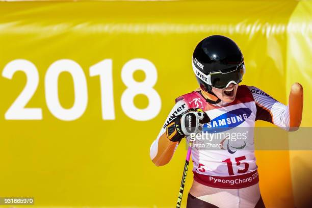Silver medalist Andrea Rothfuss of Germany celebrates after competes in the Women's Giant Slalom Run 2 Standing at Alpensia Biathlon Centre on day...