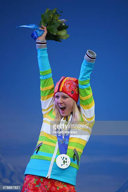 Silver medalist Andrea Rothfuss of Germany celebrates at the medal ceremony for the Women's Super Combined Standing on day eight of the Sochi 2014...