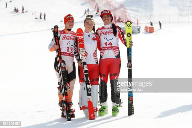 Silver medalist Andrea Rothfuss of Germany Gold medalist Mollie Jepsen of Canada and Bronze medalist Alana Ramsay of Canada celebrates at the victory...