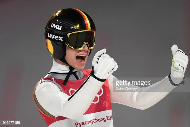 Silver medalist Andreas Wellinger of Germany celebrates following the Ski Jumping Men's Large Hill on day eight of the PyeongChang 2018 Winter...