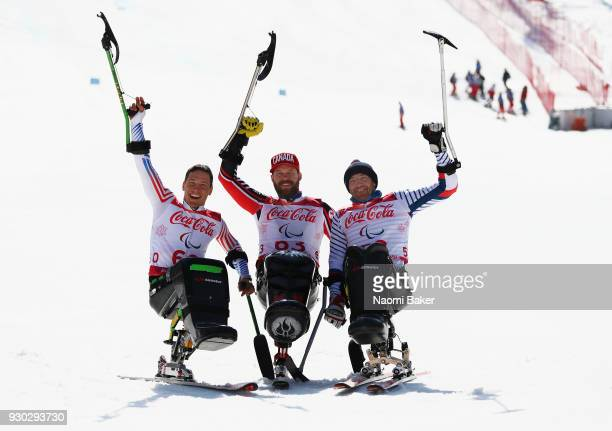 Silver Medalist Andrew Kurka of the United States Gold Medalist Kurt Oatway of Canada and Bronze Medalist Frederic Francois of France pose during the...