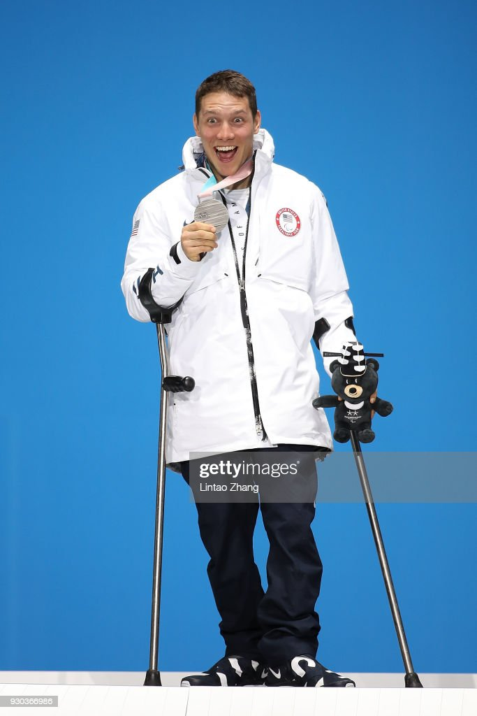 Silver Medalist Andrew Kurka of the United States pose during the victory ceremony of the Men's Sitting Super-G during day two of the PyeongChang 2018 Paralympic Games on March 11, 2018 in Pyeongchang-gun, South Korea.