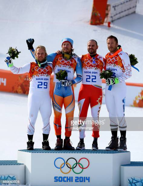 Silver medalist Andrew Weibrecht of the United States gold medalist Kjetil Jansrud of Norway and bronze medalists Jan Hudec of Canada and Bode Miller...