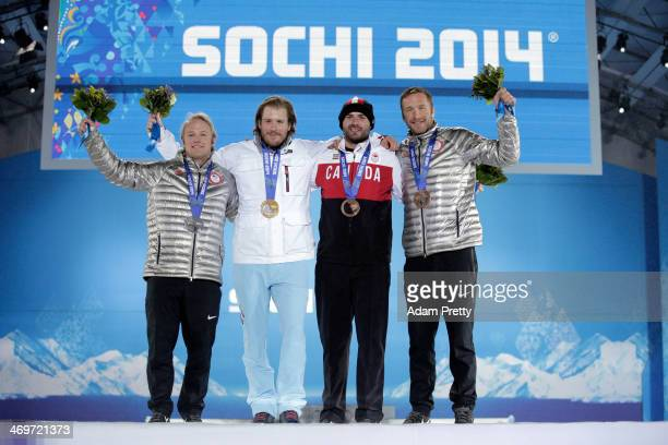 Silver medalist Andrew Weibrecht of the United States gold medalist Kjetil Jansrud of Norway and joint bronze medalists Jan Hudec of Canada and Bode...