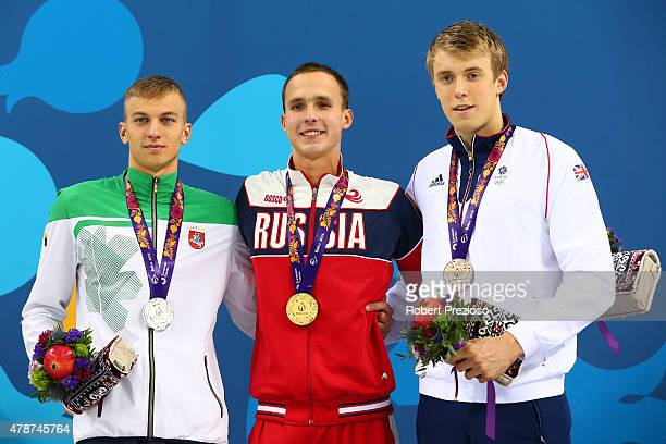 Silver medalist Andrius Sidlauskas of Lithuania gold medalist Anton Chupkov of Russia and bronze medalist Charlie Attwood of Great Britain stand on...