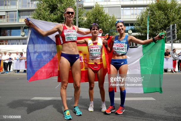 Silver medalist Anezka Drahotova of Czech Republic Gold medalist Maria Perez of Spain and Bronze medalist Antonella Palmisano of Italy celebrate...