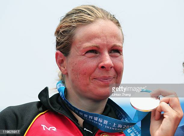 Silver medalist Angela Maurer of Germany attends the victory ceremony for the Women's Open Water 25km during Day Eight of the 14th FINA World...