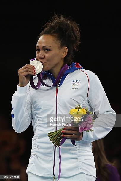 Silver medalist AnneCaroline Graffe of France poses with her medal after the Women's 67kg Taekwondo competition on on Day 15 of the London 2012...