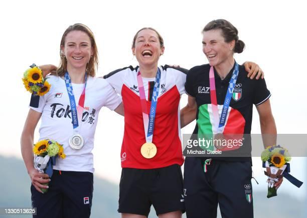 Silver medalist Annemiek van Vleuten of Team Netherlands, gold medalist Anna Kiesenhofer of Team Austria, and bronze medalist Elisa Longo Borghini of...