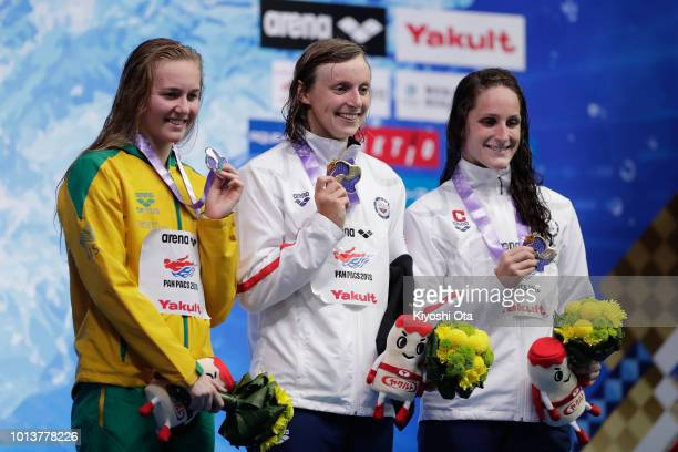 Silver medalist Ariarne Titmus of Australia gold medalist Katie Ledecky of the United States and bronze medalist Leah Smith of the United States...