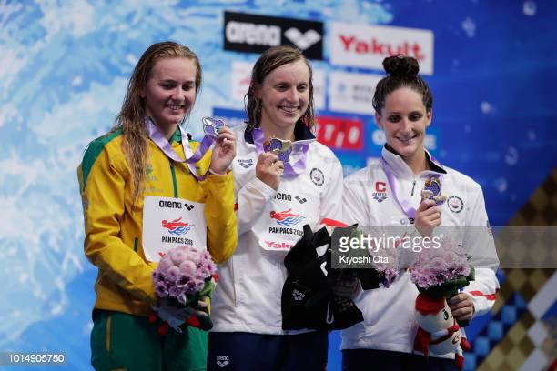 Silver medalist Ariarne Titmus of Australia gold medalist Katie Ledecky of the United States and bronze medalist Leah Smith of the United States pose...