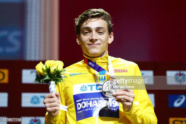 Silver medalist Armand Duplantis of Sweden stands on the podium during the medal ceremony for the Men's Pole Vault final during day six of 17th IAAF...