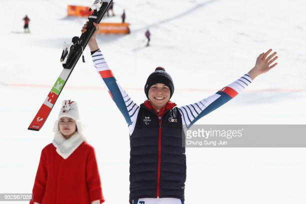 Silver medalist Arthur Bauchet of France celerbates during the victory ceremony for the Alpine Skiing Men's Slalom Standing on day eight of the...