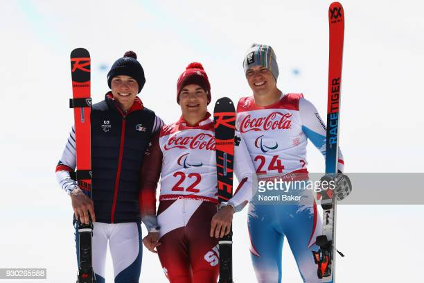 Silver Medalist Arthur Bauchet of France Gold Medalist Theo Gmur of Switzerland and Bronze Medalist Markus Salcher of Austria pose during the victory...