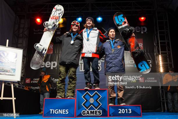 Silver medalist Arthur Longo of France gold medalist Louie Vito of the USA and bronze medalist Taku Hiraoka of Japan pose on the podium after the...