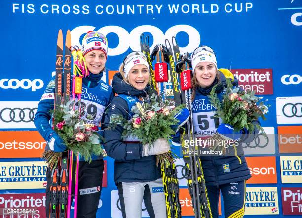 Silver medalist Astrid Uhrenholt Jacobsen of Norway Gold medalist Therese Johaug of Norway Bronze medalist Ebba Andersson of Sweden pose during the...