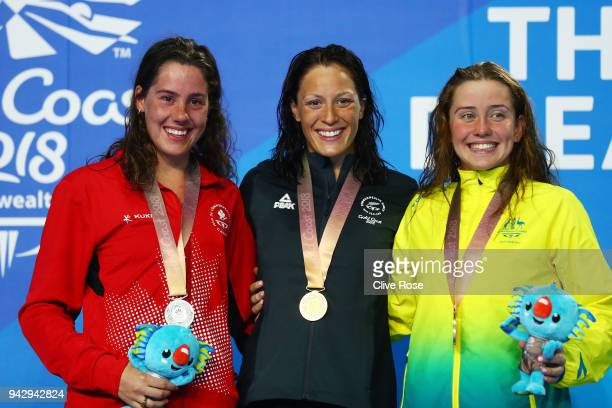 Silver medalist Aurelie Rivard of Canada gold medalist Sophie Pascoe of New Zealand and bronze medalist Katherine Downie of Australia pose during the...