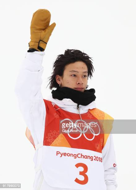 Silver medalist Ayumu Hirano of Japan poses during the victory ceremony for the Snowboard Men's Halfpipe Final on day five of the PyeongChang 2018...