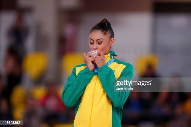 Silver medalist Barbara Domingos of Brazil celebrates during the Medal Ceremony Rhythmic Gymnastics Ribbon Final on Day 10 of Lima 2019 Pan American...