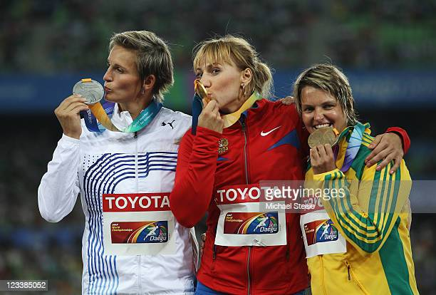 Silver medalist Barbora Spotakova of Czech Republic gold medalist Maria Abakumova of Russia and bronze medalist Sunette Viljoen of South Africa...