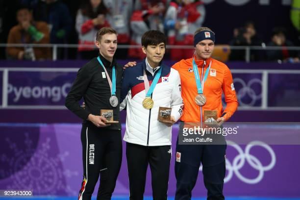 Silver medalist Bart Swings of Belgium, Gold medalist Seung-Hoon Lee of Korea and Bronze medalist Koen Verweij of the Netherlands during ceremony...
