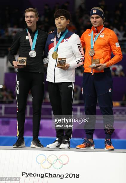 Silver medalist Bart Swings of Germany, gold medalist Seung-Hoon Lee of Korea and bronze medalist Koen Verweij of Netherlands celebrate during the...