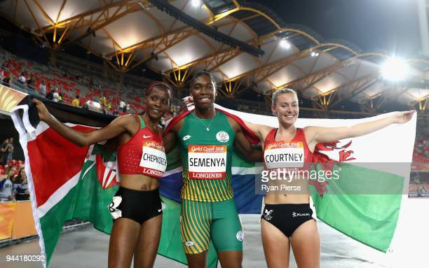 Silver medalist Beatrice Chepkoech of Kenya gold medalist Caster Semenya of South Africa and bronze medalist Melissa Courtney of Wales celebrate...