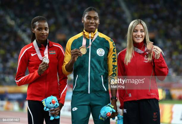 Silver medalist Beatrice Chepkoech of Kenya gold medalist Caster Semenya of South Africa and bronze medalist Melissa Courtney of Wales pose during...