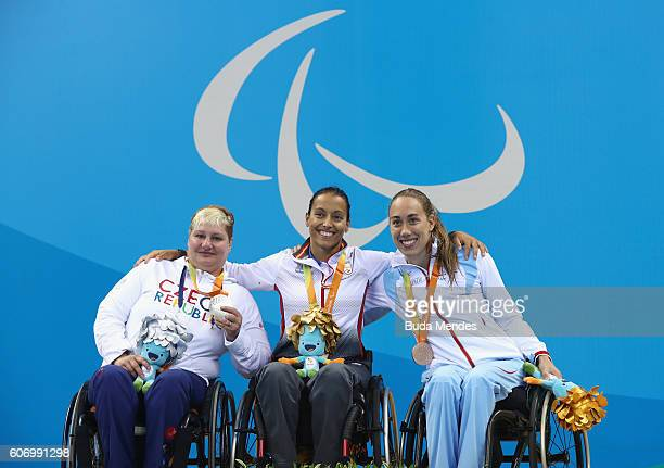 Silver medalist Bela Trebinova of the Czech Republic Gold medalist Teresa Perales of Spain and Bronze medalist Sarah Louise Rung of Norway pose on...