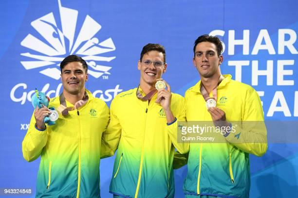 Silver medalist Benjamin Treffers of Australia gold medalist Mitch Larkin of Australia and bronze medalist Zac Incerti of Australia pose during the...