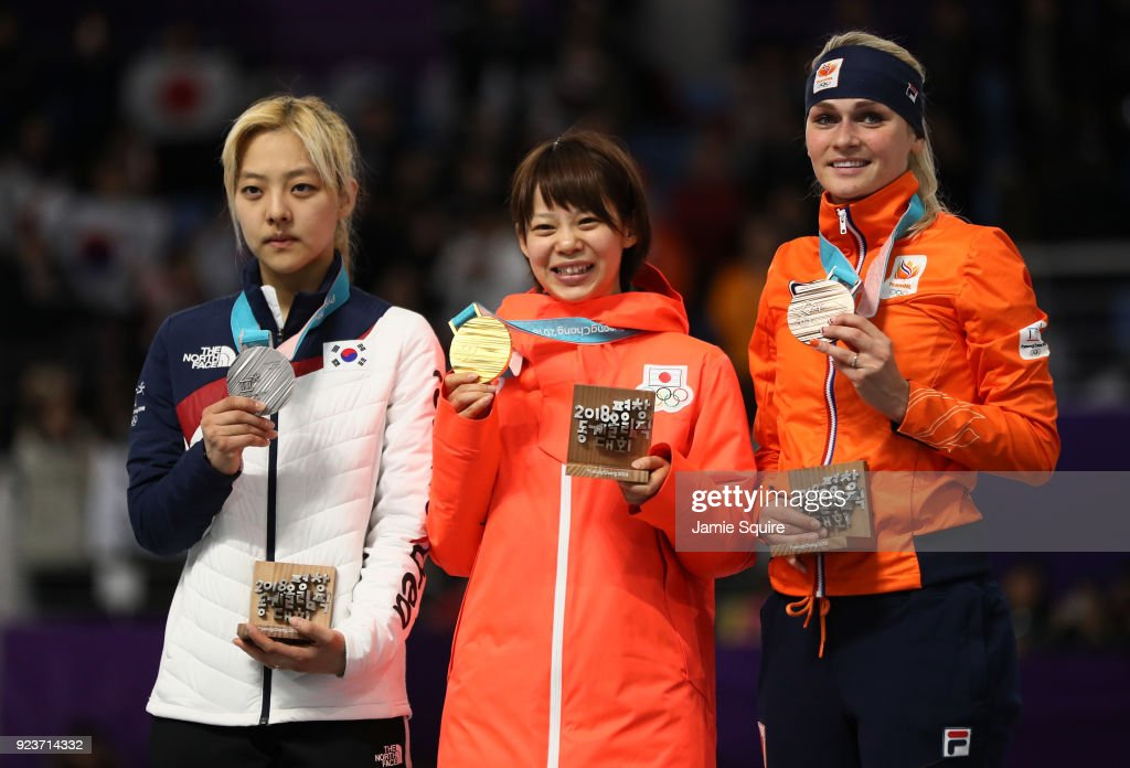 Silver medalist Bo-Reum Kim of Korea, gold medalist Nana Takagi of Japan and bronze medalist Irene Schouten of Netherlands stand on the podium during the medal ceremony after the Ladies' Speed Skating Mass Start Final on day 15 of the PyeongChang 2018 Winter Olympic Games at Gangneung Oval on February 24, 2018 in Gangneung, South Korea.
