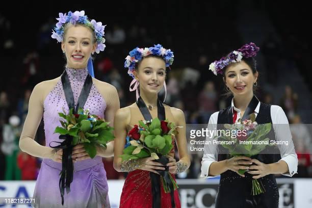 Silver medalist Bradie Tennell of the United States gold medalist Anna Shcherbakova of Russia and Elizaveta Tuktamysheva of Russia pose together...